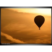 Glas schilderij Luchtballon | Bruin, Zwart