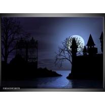 Glas schilderij Maan   Blauw, Zwart, Wit