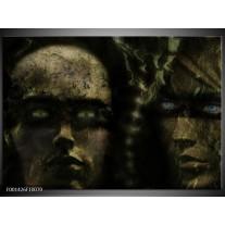 Glas schilderij Gezichten | Grijs, Groen