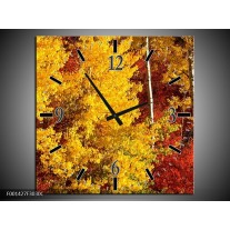 Wandklok op Canvas Herfst | Kleur: Geel, Oranje | F001427C