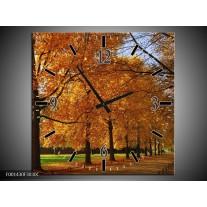 Wandklok op Canvas Bomen | Kleur: Geel, Oranje | F001430C