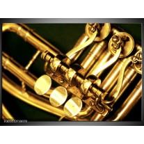 Glas schilderij Instrument | Geel, Goud, Zwart