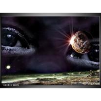 Glas schilderij Ogen   Groen, Grijs, Paars