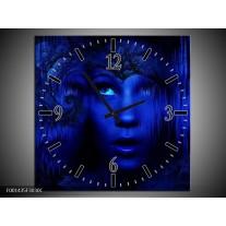 Wandklok op Canvas Gezichten | Kleur: Blauw, Zwart | F001435C