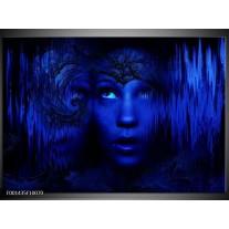 Glas schilderij Gezichten   Blauw, Zwart