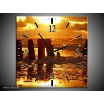 Wandklok op Canvas Zee | Kleur: Bruin, Geel, Zwart | F001437C