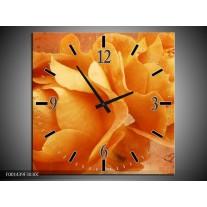 Wandklok op Canvas Roos | Kleur: Bruin, Oranje, Geel | F001439C