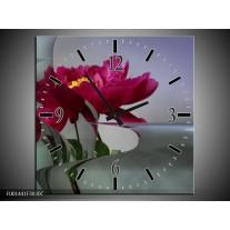 Wandklok op Canvas Bloem | Kleur: Rood, Grijs | F001441C