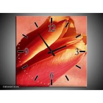 Wandklok op Canvas Tulp   Kleur: Rood, Oranje, Geel   F001444C