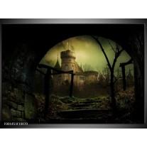 Glas schilderij Kasteel | Groen, Zwart