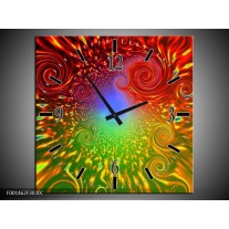 Wandklok op Canvas Abstract | Kleur: Groen, Rood, Geel | F001462C