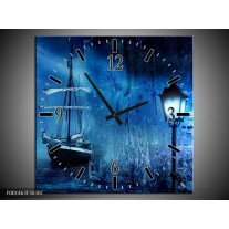 Wandklok op Canvas Boot | Kleur: Blauw, Wit, Zwart | F001463C