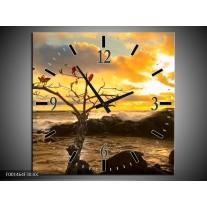 Wandklok op Canvas Zee | Kleur: Geel, Wit, Bruin | F001464C