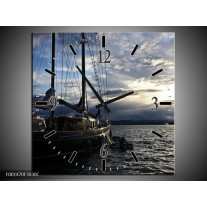 Wandklok op Canvas Boot | Kleur: Wit, Blauw, Zwart | F001470C