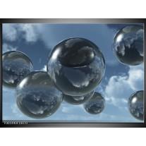 Glas schilderij Druppels | Zilver, Grijs, Blauw