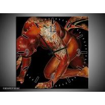 Wandklok op Canvas Man   Kleur: Bruin, Zwart, Wit   F001492C