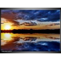 Glas schilderij Zee | Geel, Blauw, Grijs