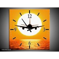 Wandklok op Canvas Vliegtuig | Kleur: Geel, Oranje, Zwart | F001499C