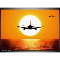 Glas schilderij Vliegtuig | Geel, Oranje, Zwart
