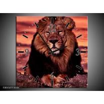 Wandklok op Canvas Leeuw | Kleur: Paars, Bruin, Zwart | F001507C