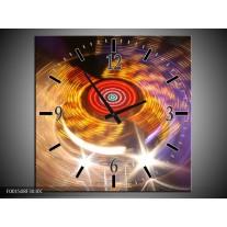 Wandklok op Canvas CD | Kleur: Geel, Paars, Rood | F001508C