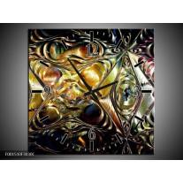Wandklok op Canvas Glas   Kleur: Paars, Oranje, Zwart   F001510C