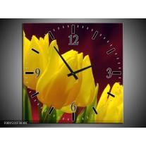 Wandklok op Canvas Tulpen | Kleur: Geel, Bruin, Groen | F001511C
