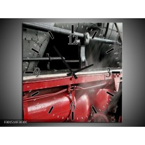 Wandklok op Canvas Trein | Kleur: Rood, Grijs, Wit | F001514C