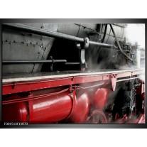 Glas schilderij Trein | Rood, Grijs, Wit