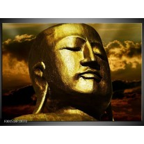 Foto canvas schilderij Boeddha | Goud, Grijs, Zwart