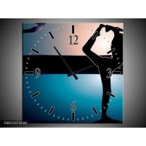 Wandklok op Canvas Dansen | Kleur: Blauw, Zwart, Wit | F001521C