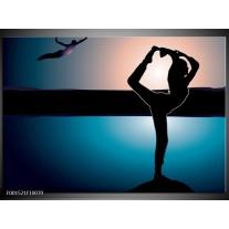 Glas schilderij Dansen   Blauw, Zwart, Wit