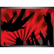 Foto canvas schilderij Muziek | Rood, Zwart