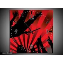 Wandklok op Canvas Muziek | Kleur: Rood, Zwart | F001523C