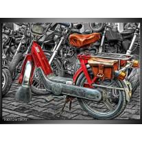 Glas schilderij Brommer | Rood, Grijs, Wit