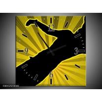 Wandklok op Canvas Dansen   Kleur: Geel, Zwart   F001525C
