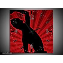 Wandklok op Canvas Dansen | Kleur: Rood, Zwart, | F001526C
