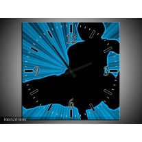 Wandklok op Canvas Dansen | Kleur: Blauw, Zwart | F001527C