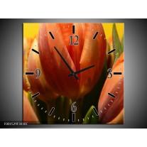 Wandklok op Canvas Tulpen | Kleur: Groen, Oranje, Geel | F001529C