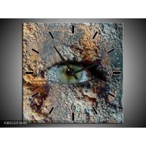 Wandklok op Canvas Oog | Kleur: Grijs, Geel | F001532C