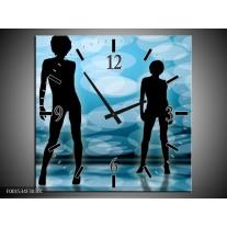 Wandklok op Canvas Dansen | Kleur: Zwart, Blauw, Wit | F001534C