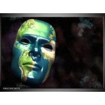 Foto canvas schilderij Masker | Groen, Blauw, Zwart