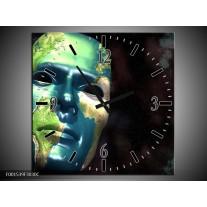 Wandklok op Canvas Masker | Kleur: Groen, Blauw, Zwart | F001539C