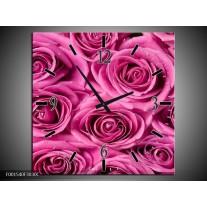 Wandklok op Canvas Roos | Kleur: Rood, Wit, Grijs | F001540C