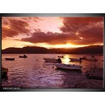 Foto canvas schilderij Zonsondergang | Geel, Paars
