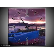 Wandklok op Canvas Boot | Kleur: Blauw, Grijs | F001542C