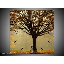 Wandklok op Canvas Boom | Kleur: Grijs, Bruin, Zwart | F001543C