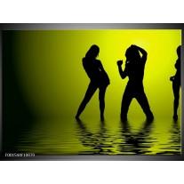 Glas schilderij Dansen | Groen, Zwart
