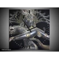 Wandklok op Canvas Religie | Kleur: Grijs, Zwart, Zilver | F001547C