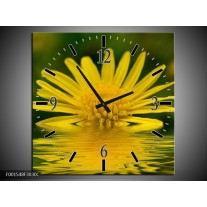 Wandklok op Canvas Bloem | Kleur: Geel, Groen | F001548C